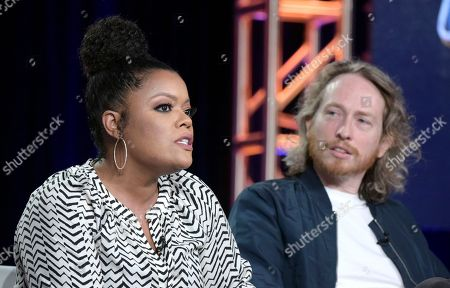 "Yvette Nicole Brown, left, and Zeb Wells, co-creator/executive producer, attend the ""Super Mansion"" panel at the Crackle portion of the Winter Television Critics Association press tour, in Pasadena, Calif"