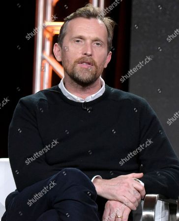 "Creator/showrunner Alex De Rakoff attends the ""Snatch"" panel at the Crackle portion of the Winter Television Critics Association press tour, in Pasadena, Calif"