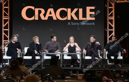 "Creator/showrunner Alex De Rakoff, from left, Rupert Grint, Luke Pasqualino, Phoebe Dynevor, Ed Westwick and Lucien Laviscount attend the ""Snatch"" panel at the Crackle portion of the Winter Television Critics Association press tour, in Pasadena, Calif"