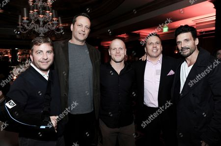 Stock Image of Peter Billingsley, from left, Vince Vaughn, Timothy Ferriss, Chris Long and Frank Grillo attend the afterparty at the Direct TV portion of the 2017 Winter Television Critics Association press tour in, in Pasadena, Calif