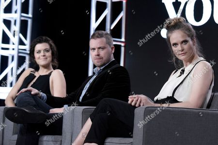 "Priscilla Faia, from left, Greg Poehler, Rachel Blanchard attends the ""You Me Her"" panel at the Direct TV portion of the 2017 Winter Television Critics Association press tour in, in Pasadena, Calif"