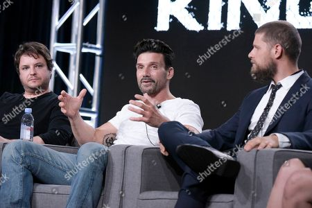 """Byron Balasco, from left, Frank Grillo and Matt Lauria attend the """"Kingdom"""" panel at the Direct TV portion of the 2017 Winter Television Critics Association press tour in, in Pasadena, Calif"""