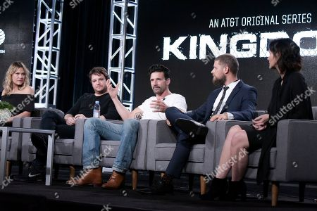 """Kiele Sanchez, from left, Byron Balasco, Frank Grillo, Matt Lauria and Wendy Moniz attend the """"Kingdom"""" panel at the Direct TV portion of the 2017 Winter Television Critics Association press tour in, in Pasadena, Calif"""