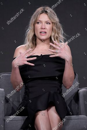 """Kiele Sanchez speaks during the """"Kingdom"""" panel at the Direct TV portion of the 2017 Winter Television Critics Association press tour in, in Pasadena, Calif"""