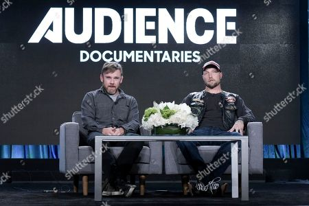 "Ricky Schroder, left, and River Rainbow O'Mahoney Hagg attend the ""AUDIENCE Documentaries"" panel at the Direct TV portion of the 2017 Winter Television Critics Association press tour in, in Pasadena, Calif"