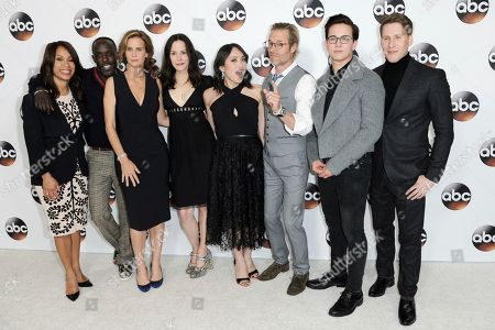 Channing Dungey, from left, Rachel Griffiths, Michael Kenneth Williams, Marie Louise Parker, Ivory Aquino, Guy Pearce, Austin McKenzie and Dustin Lance Bass attend the Disney/ABC portion of the 2017 Winter Television Critics Association press tour, in Pasadena, Calif