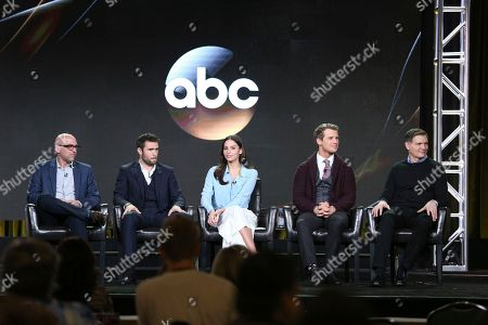 "Marcos Siega, from left, Josh Bowman, Genesis Rodriguez, Freddie Stroma and Kevin Williamson speak at the ""Time After Time"" panel at the Disney/ABC portion of the 2017 Winter Television Critics Association press tour, in Pasadena, Calif"