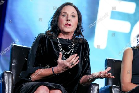 """I. Marlene King speaks at the """"Famous In Love"""" panel at the Disney/ABC portion of the 2017 Winter Television Critics Association press tour, in Pasadena, Calif"""