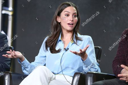 """Genesis Rodriguez speaks at the """"Time After Time"""" panel at the Disney/ABC portion of the 2017 Winter Television Critics Association press tour, in Pasadena, Calif"""