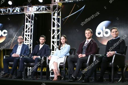 "Marcos Siega, from left, Josh Bowman, Genesis Rodriguez, Freddie Stroma and Kevin Williamson attends the ""Time After Time"" panel at the Disney/ABC portion of the 2017 Winter Television Critics Association press tour, in Pasadena, Calif"