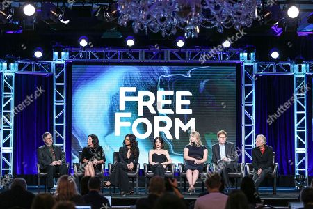 """Stock Picture of Joseph Dougherty, from left, I. Marlene King, Shay Mitchell, Lucy Hale, Sasha Pieterse, Oliver Goldstick and Charlie Craig attend the """"Pretty Little Liars"""" panel at the Disney/ABC portion of the 2017 Winter Television Critics Association press tour, in Pasadena, Calif"""