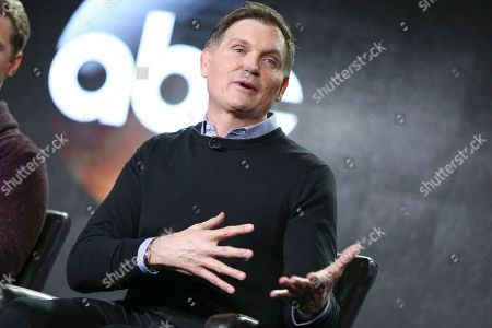 "Kevin Williamson speaks at the ""Time After Time"" panel at the Disney/ABC portion of the 2017 Winter Television Critics Association press tour, in Pasadena, Calif"
