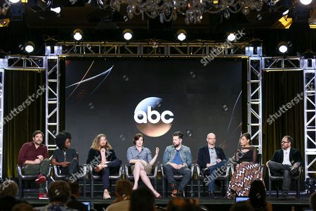 "Barry Rothbart, from left, Kirby Howell-Baptiste, Lucas Neff, Allison Tolman, Same Hodges, Michael Killed, Kat Likkel and John Hoberg speak at the ""Downward Dog"" panel at the Disney/ABC portion of the 2017 Winter Television Critics Association press tour, in Pasadena, Calif"