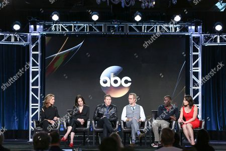 "Rachel Griffiths, from left, Mary-Louise Parker, Dustin Lance Black, Guy Pearce, Michael Kenneth Williams and Ivory Aquino speak at the ""When We Rise"" panel at the Disney/ABC portion of the 2017 Winter Television Critics Association press tour, in Pasadena, Calif"
