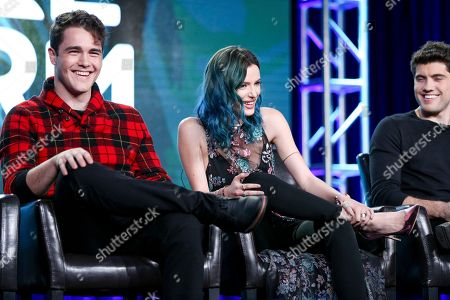 """Charlie Depew, from left, Bella Thorne and Carter Jenkins speak at the """"Famous In Love"""" panel at the Disney/ABC portion of the 2017 Winter Television Critics Association press tour, in Pasadena, Calif"""