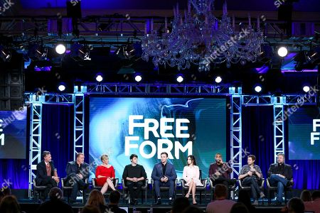 "Tim Kring, from left, Michael McGrady, Rose Rosemont, Jonathan Whitesell, Burkely Duffield, Dilan Gwyn, Jeff Pierre, Adam Nussdorf and David Eick speak at the ""Beyond"" panel at the Disney/ABC portion of the 2017 Winter Television Critics Association press tour, in Pasadena, Calif"