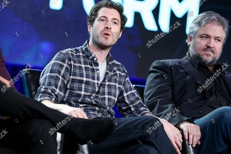 """Adam Nussdorf speaks at the """"Beyond"""" panel at the Disney/ABC portion of the 2017 Winter Television Critics Association press tour, in Pasadena, Calif"""