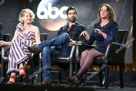 "Jenna Elfman, from left, Stephen Schneider and Rachel Dratch speak at the ""Imaginary Mary"" panel at the Disney/ABC portion of the 2017 Winter Television Critics Association press tour, in Pasadena, Calif"