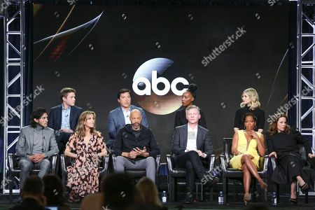 """Connor Jessup, from left, Benito Martinez, Mickaelle X. Bizet, Ana Mulvoy-Ten, Richard Cabral, Felicity Huffman, John Ridley, Michael J. McDonald, Regina King and Lili Taylor attend the """"American Crime"""" panel at the Disney/ABC portion of the 2017 Winter Television Critics Association press tour, in Pasadena, Calif"""