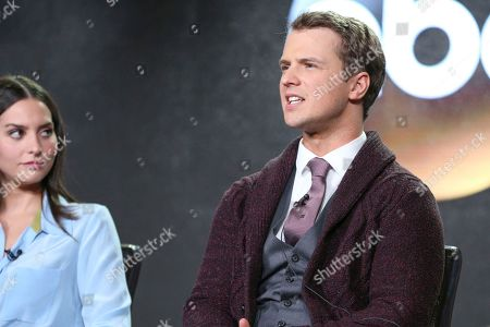 "Freddie Stroma speaks at the ""Time After Time"" panel at the Disney/ABC portion of the 2017 Winter Television Critics Association press tour, in Pasadena, Calif"
