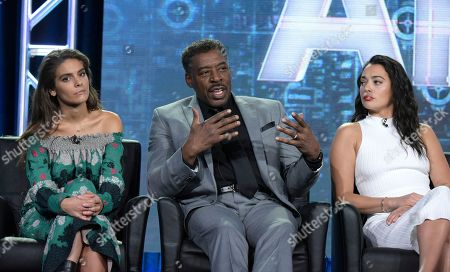 "Caitlin Stasey, from left, Ernie Hudson and Natalie Martinez appear at the ""APB"" panel during the FOX portion of the 2017 Winter Television Critics Association press tour, in Pasadena, Calif"