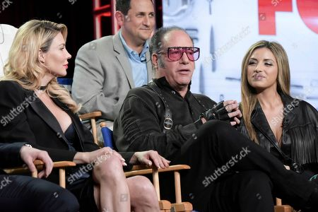 "Brandi Glanville, from left, Andrew Dice Clay and Valerie Vasquez attend the ""My Kitchen Rules"" panel at the FOX portion of the 2017 Winter Television Critics Association press tour, in Pasadena, Calif"