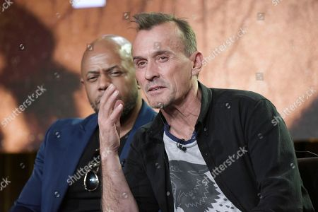 "Rockman Dunbar, left, and Robert Knepper attend the ""Prison Break"" panel at the FOX portion of the 2017 Winter Television Critics Association press tour, in Pasadena, Calif"