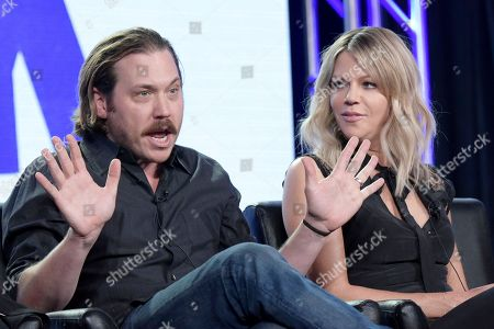 "Scott MacArthur, left, and Kaitlin Olson attend the ""The Mick"" panel at the FOX portion of the 2017 Winter Television Critics Association press tour, in Pasadena, Calif"