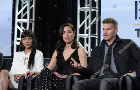 """Tamara Taylor, from left, Michaela Conlin and David Boreanaz appears at the """"Bones"""" panel during the FOX portion of the 2017 Winter Television Critics Association press tour, in Pasadena, Calif"""