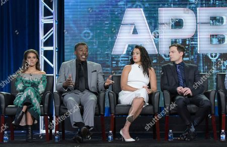 "Caitlin Stasey, Ernie Hudson, Natalie Martinez, and Justin Kirk appear at the ""APB"" panel during the FOX portion of the 2017 Winter Television Critics Association press tour, in Pasadena, Calif"