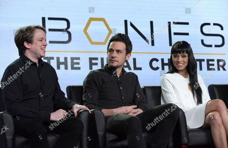 """Eric Millegan, from left, John Boyd and Tamara Taylor appear at the """"Bones"""" panel during the FOX portion of the 2017 Winter Television Critics Association press tour, in Pasadena, Calif"""