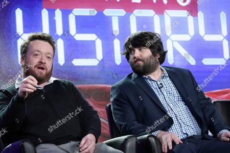 """Neil Casey, left, and John Gemberling attend the """"My Kitchen Rules"""" panel at the FOX portion of the 2017 Winter Television Critics Association press tour, in Pasadena, Calif"""