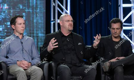 "Executive producer Matt Nix, from left, executive producer Trey Callaway and executive producer/director Len Wiseman appear at the ""APB"" panel during the FOX portion of the 2017 Winter Television Critics Association press tour, in Pasadena, Calif"