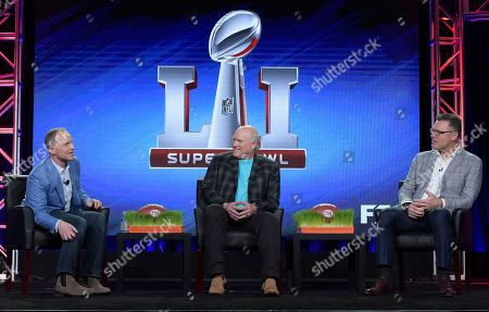 "President, COO and Executive Producer, Fox Sports, Eric Shanks, from left, Terry Bradshaw and Howie Long appear at the ""FOX Sports"" panel during the FOX portion of the 2017 Winter Television Critics Association press tour, in Pasadena, Calif"