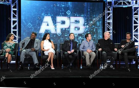 "Stock Photo of Caitlin Stasey, from left, Ernie Hudson, Natalie Martinez, Justin Kirk, executive producer Matt Nix, executive producer Trey Callaway and executive producer/director Len Wiseman appear at the ""APB"" panel during the FOX portion of the 2017 Winter Television Critics Association press tour, in Pasadena, Calif"
