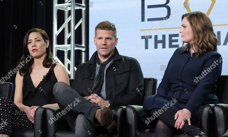 """Stock Photo of Michaela Conlin, from left, David Boreanaz and Emily Deschanel appear at the """"Bones"""" panel during the FOX portion of the 2017 Winter Television Critics Association press tour, in Pasadena, Calif"""