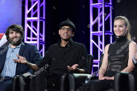 """John Gemberling, from left, Yassir Lester and Leighton Meester attend the """"My Kitchen Rules"""" panel at the FOX portion of the 2017 Winter Television Critics Association press tour, in Pasadena, Calif"""