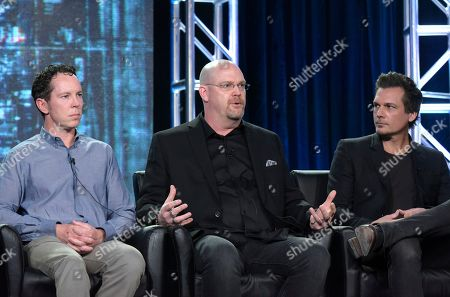 "Stock Picture of Executive producer Matt Nix, from left, executive producer Trey Callaway and executive producer/director Len Wiseman appear at the ""APB"" panel during the FOX portion of the 2017 Winter Television Critics Association press tour, in Pasadena, Calif"