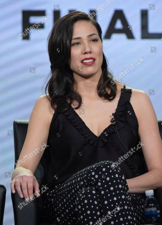 """Michaela Conlin appears at the """"Bones"""" panel during the FOX portion of the 2017 Winter Television Critics Association press tour, in Pasadena, Calif"""