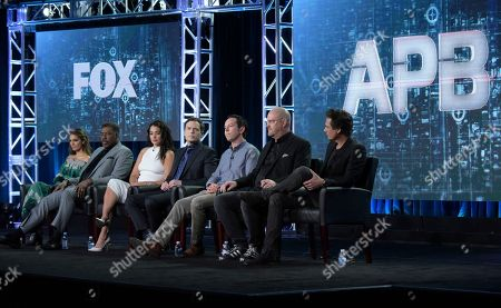 "Caitlin Stasey, from left, Ernie Hudson, Natalie Martinez, Justin Kirk, executive producer Matt Nix, executive producer Trey Callaway and executive producer/director Len Wiseman appear at the ""APB"" panel during the FOX portion of the 2017 Winter Television Critics Association press tour, in Pasadena, Calif"