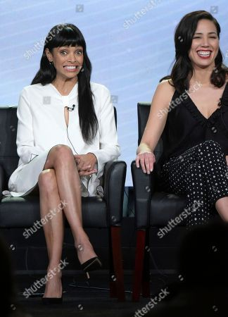 """Tamara Taylor, left, and Michaela Conlin appear at the """"Bones"""" panel during the FOX portion of the 2017 Winter Television Critics Association press tour, in Pasadena, Calif"""