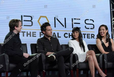 """Eric Millegan, from left, John Boyd, Tamara Taylor and Michaela Conlin appear at the """"Bones"""" panel during the FOX portion of the 2017 Winter Television Critics Association press tour, in Pasadena, Calif"""