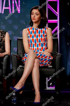 "Katie Findlay speaks at the FX's ""Man Seeking Woman"" panel at the 2017 Television Critics Association press tour, in Pasadena, Calif"