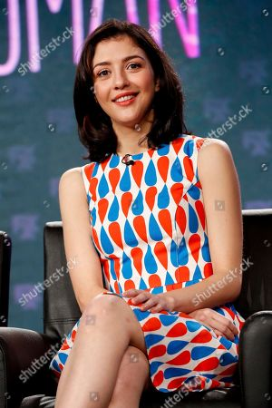 "Stock Photo of Katie Findlay speaks at the FX's ""Man Seeking Woman"" panel at the 2017 Television Critics Association press tour, in Pasadena, Calif"