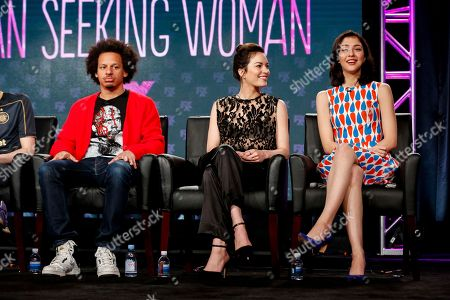 "Eric Andre, from left, Britt Lower, and Katie Findlay speak at the FX's ""Man Seeking Woman"" panel at the 2017 Television Critics Association press tour, in Pasadena, Calif"
