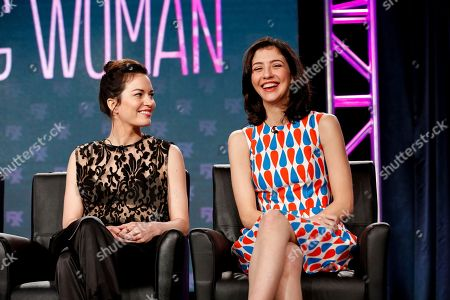 "Britt Lower, left, and Katie Findlay speak at the FX's ""Man Seeking Woman"" panel at the 2017 Television Critics Association press tour, in Pasadena, Calif"