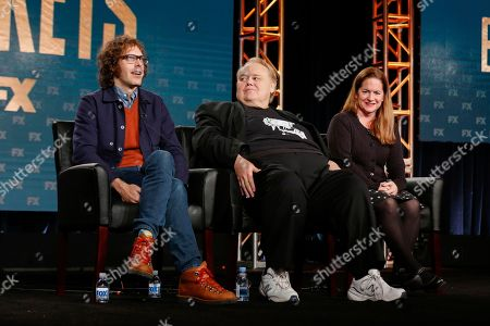 """Stock Image of Jonathan Krisel, from left, Emmy Award-winning Louie Anderson, and Martha Kelly speak at the FX's """"Baskets"""" panel at the 2017 Television Critics Association press tour, in Pasadena, Calif"""