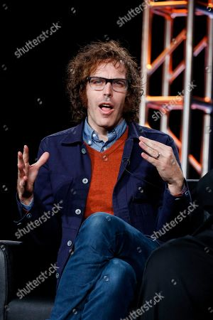 """Jonathan Krisel speaks at the FX's """"Baskets"""" panel at the 2017 Television Critics Association press tour, in Pasadena, Calif"""