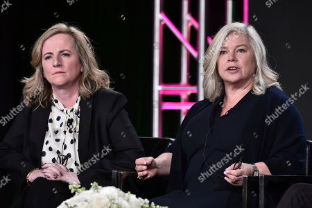 "Debra Hayward, left and Alison Owen attend the ""Harlots"" panel at the Hulu portion of the 2017 Winter Television Critics Association press tour on in Pasadena, Calif"