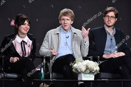 """Emily Barclay, from left, Josh Thomas and Thomas Ward attend the """"Please Like Me"""" panel at the Hulu portion of the 2017 Winter Television Critics Association press tour on in Pasadena, Calif"""